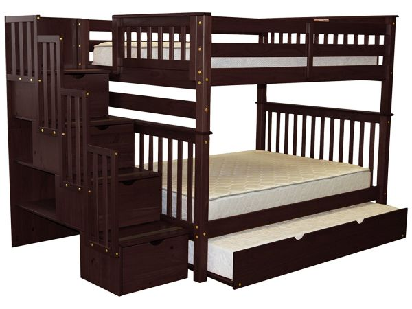 Bedz King Stairway Bunk Bed Full over Full with 4 Drawers in the Steps and a Twin Trundle Cappuccino