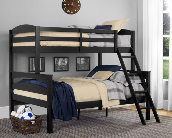Dorel Living Brady Twin over Full Solid Wood Kids Bunk Bed with Ladder Black