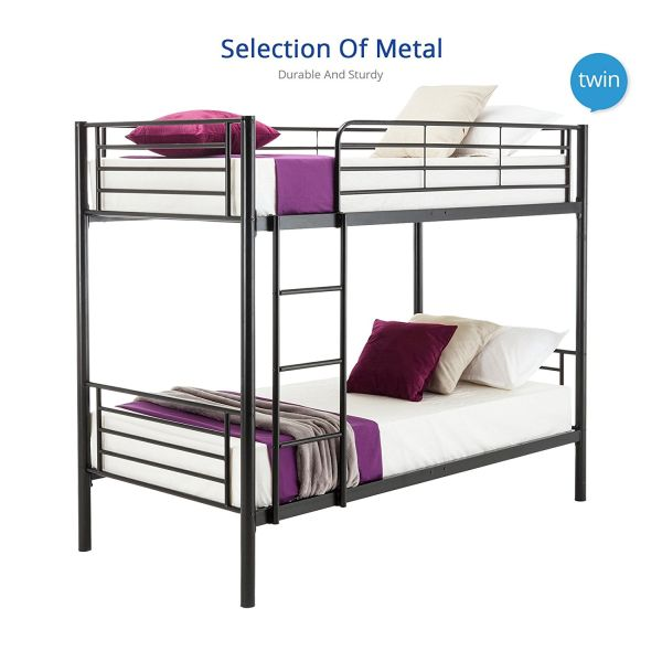DFM Twin over Twin Metal Bunk Beds Frame Ladder Kids Adult Children Bedroom Dorm