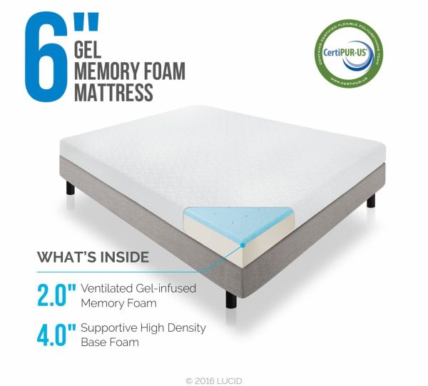 LUCID 6 Inch Memory Foam Mattress Dual-Layered CertiPUR-US Certified Firm Feel Twin Size