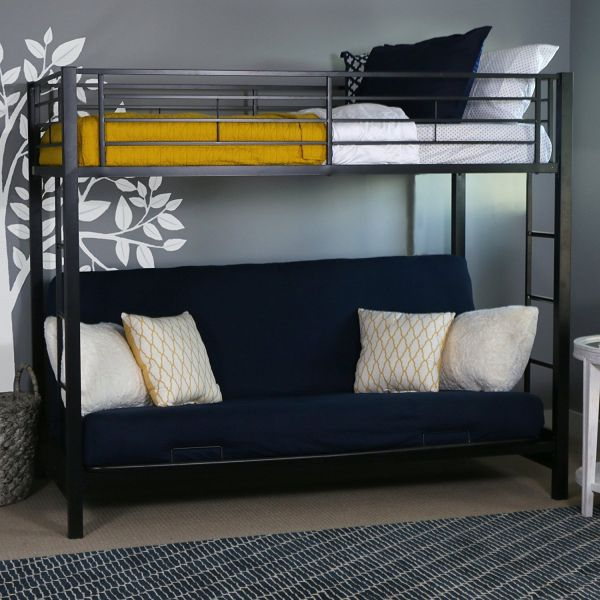 Walker Edison Twin-Over-Futon Metal Bunk Bed Black