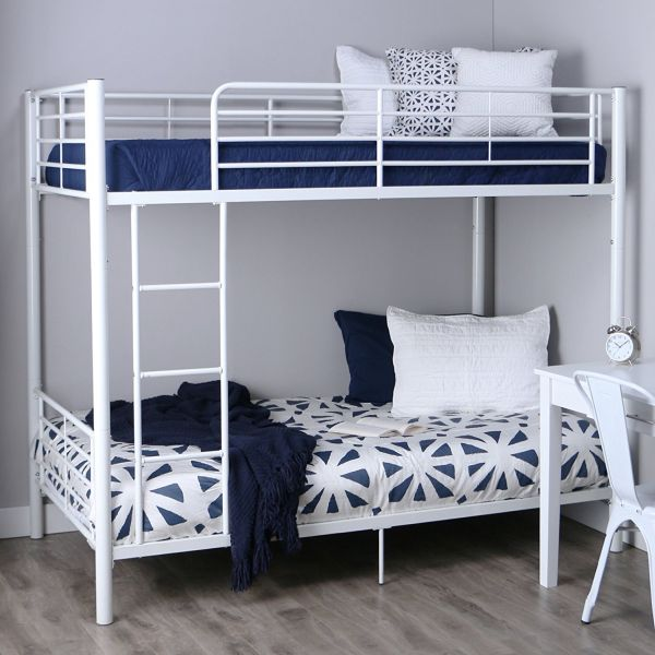 Walker Edison Twin-Over-Twin Metal Bunk Bed White