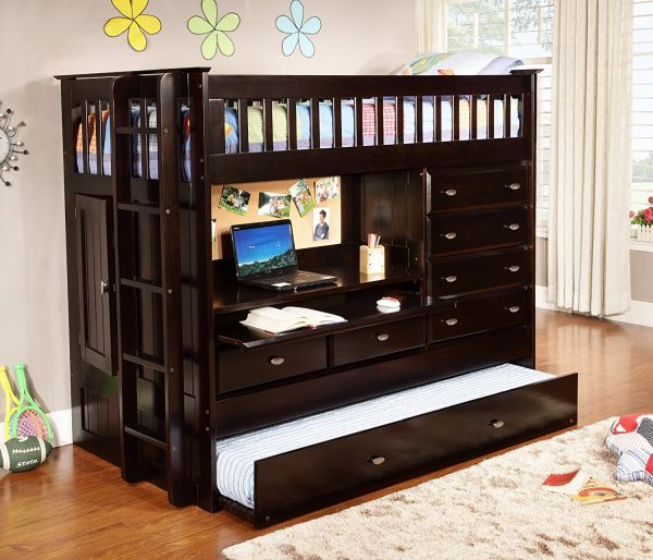Loft Bed with Desk Espresso Twin Size