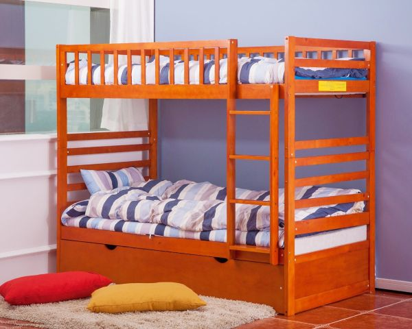 Merax Twin Over Twin Bunk Bed with Trundle in Oak Finish