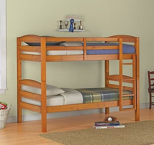 Twin over Twin Wood Bunk Bed Pine Finish