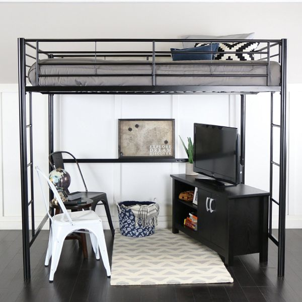 WE Furniture Full Size Metal Loft Bed Back