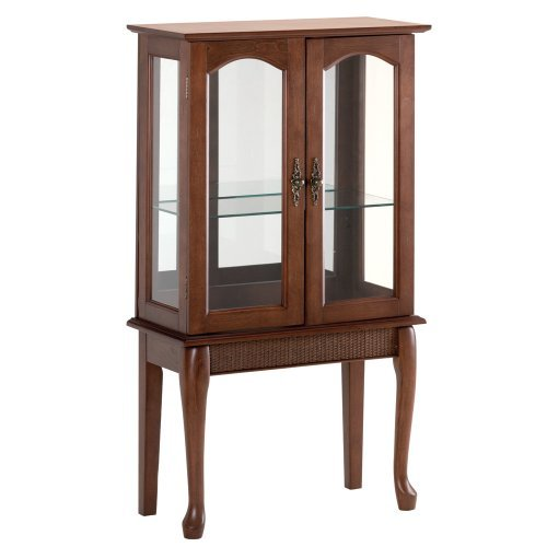 Birch Veneer Simply Elegant Wood Glass Small Curio Cabinet