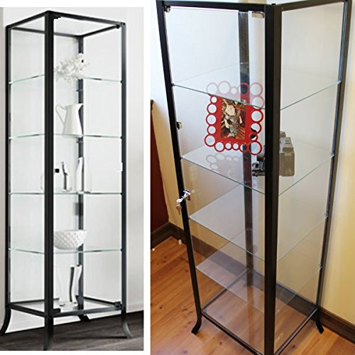 Curio Cabinet Display with Glass Door and Lock for Collectibles