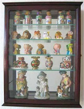 Small Wall Mountable Curio Cabinet Shadow Box with Glass Door Mirrored Back