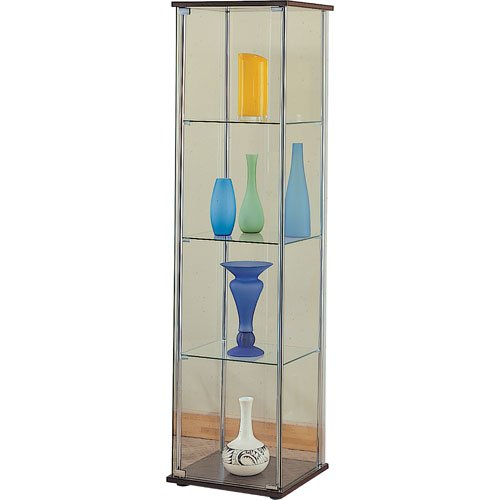 Coaster Contemporary Glass Modern Curio Cabinet with Cappuccino Top and Bottom
