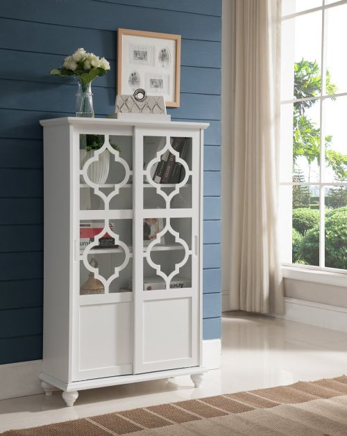 Kings Brand Furniture Curio Bookcase Cabinet with Glass Doors White