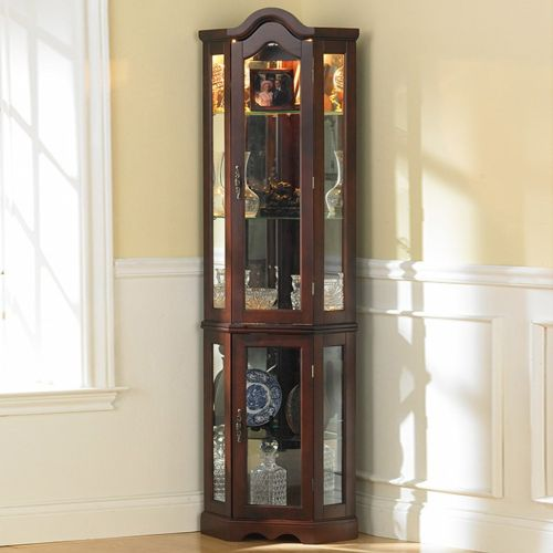 Lighted Curio Cabinet Mahogany