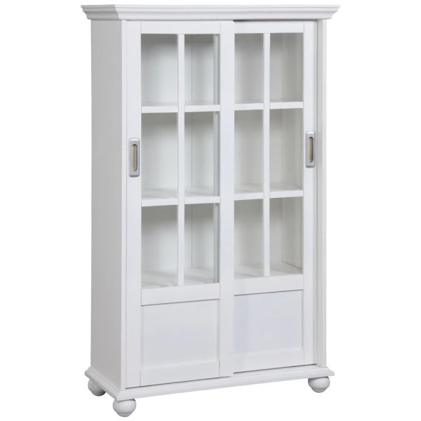 Altra Aaron Lane Bookcase with Sliding Glass Doors White