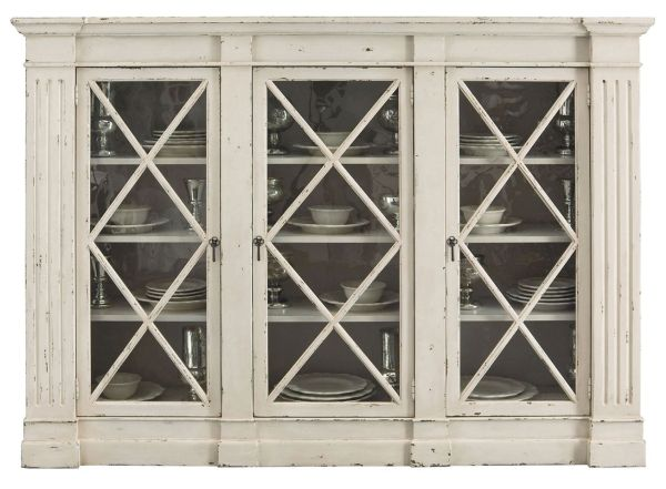 Reine French Country Rustic White Wood Console Curio Cabinet