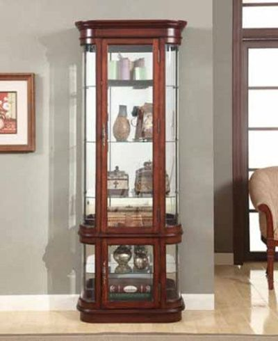 Vintage Look Cherry Wood Finish Curio Cabinet