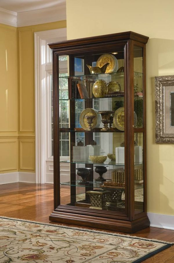Pulaski Two Way Sliding Door Curio 43 by 16 by 80-Inch Brown