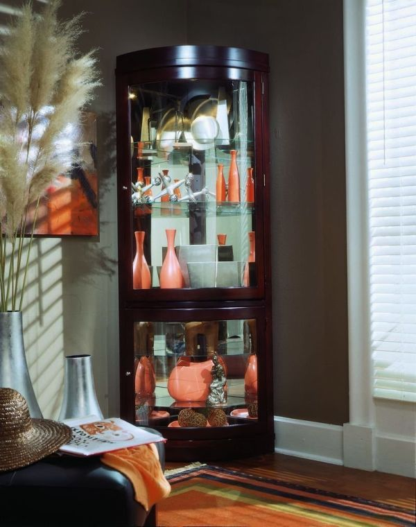 Pulaski 20852 Curio with Adjustable Glass Shelves Hinged Doors and Mirrored Back Chocolate Cherry