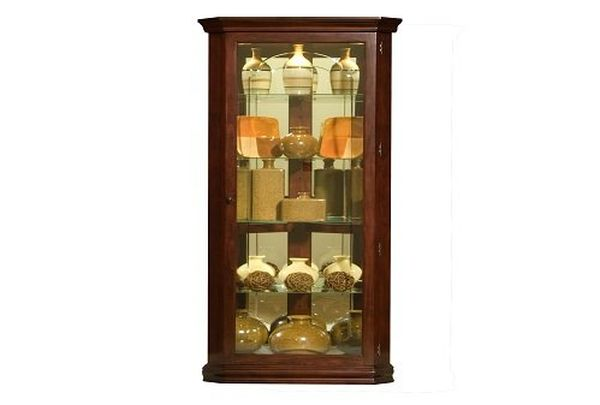 Pulaski Corner Curio, 28 by 16 by 72-Inch, Brown