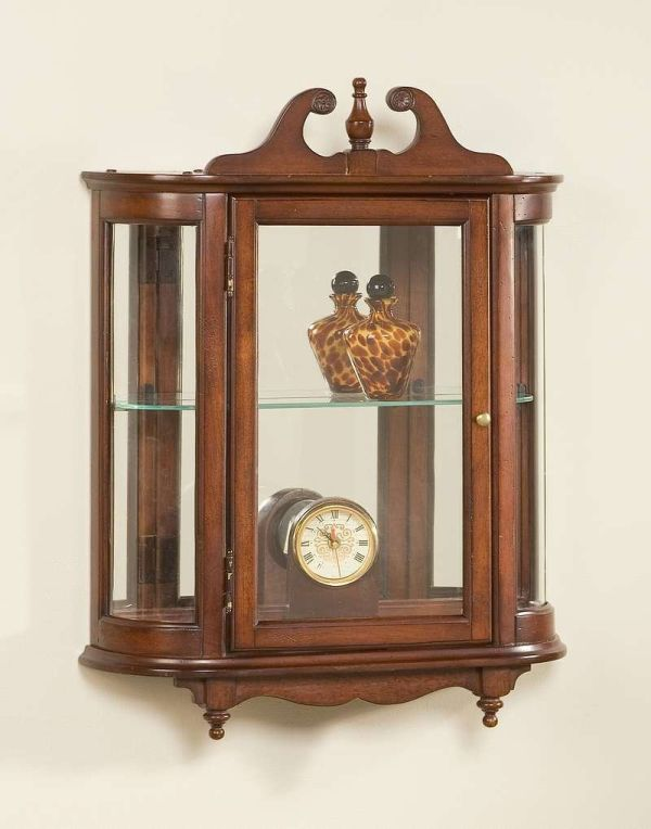 Antique Curio Cabinets with Curved Glass