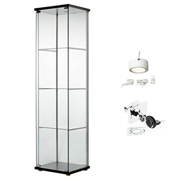 Ikea Detolf Glass Curio Display Cabinet Black Lockable Light and Lock Included