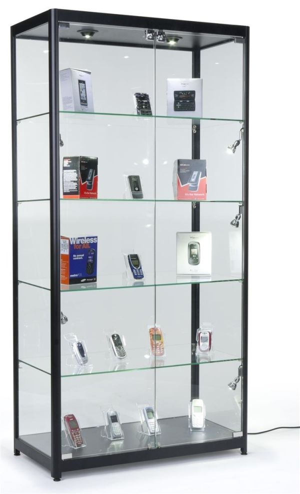 Tempered Glass Curio Cabinet With 8 Halogen Lights