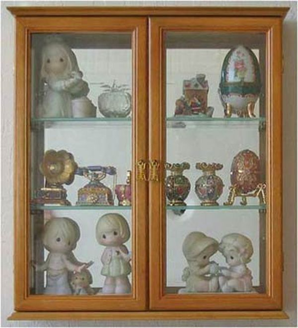 Wall Mounted Curio Cabinet Decorative Shadow Box Display Case with glass door Solid wood CD05C-OA