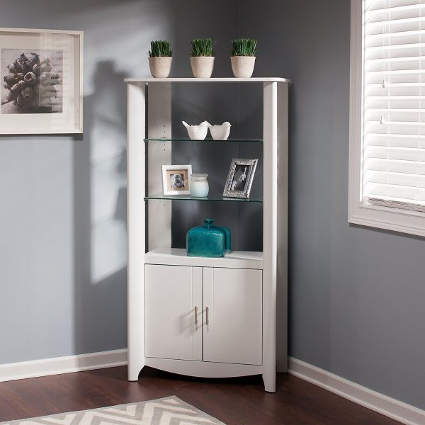 Aero Tall Library Storage Cabinet with Doors in Pure White