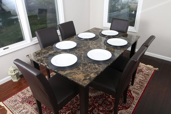 Faux Marble Dining Room Set with Six Chairs and Table