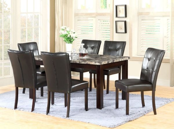 GTU Furniture 7-Piece Dining Room and Kitchen Table Set with Faux Marble Top