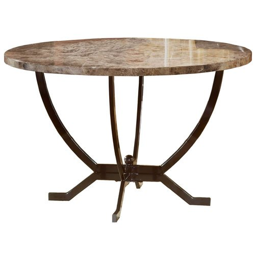 Hillsdale Monaco Round Faux Marble Top Dining Table