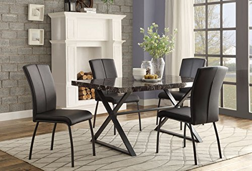 Homelegance 5155 Faux Marble Top Metal Base Dining Table Black Finish
