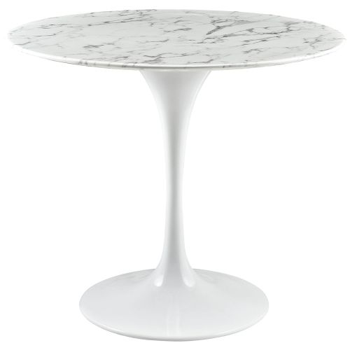 LexMod Lippa Artificial Marble Dining Table in White