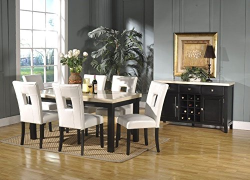 Mega Furnishing Home Kitchen Curvy White Marble Style Dining Table with White Leather Chair