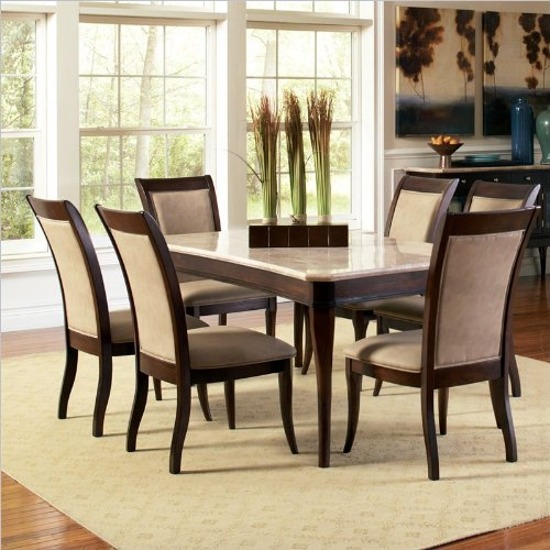 Steve Silver Company Marseille 7 Piece Marble Dining Room Table Set in Dark Cherry