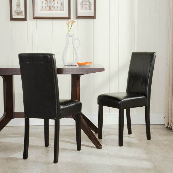 Belleze Leatherette Black Padded Parson Style Chair Dining Set Furniture