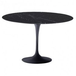 Eero Saarinen Style Tulip Marble Table 32 in Black