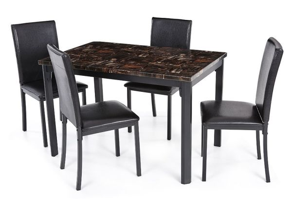 IKAYAA 5 Piece Modern Kitchen Dining Table Chair Set, Beautiful Marble-Like Design
