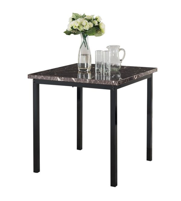 Kings Brand Furniture Black Metal Marble Finish Top Dining Room Kitchen Table