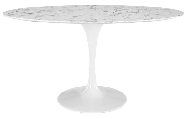 LexMod Lippa 60 inch Oval-Shaped Artificial Marble Dining Table in White