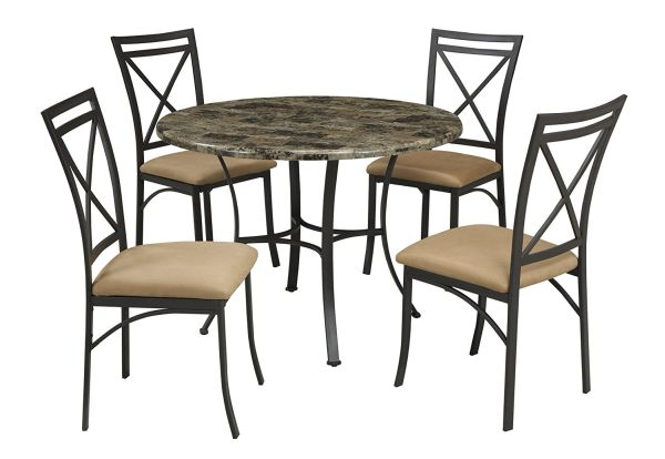 Dorel Living Faux Top Marble Dining Table and Chairs Set