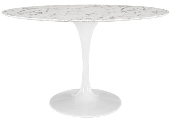 LexMod Lippa 54 Oval-Shaped Artificial Marble Dining Table in White
