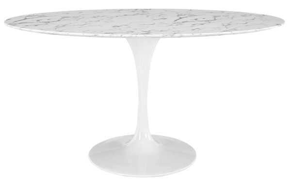 LexMod Lippa 60 inch Shaped Artificial Oval Marble Dining Table in White