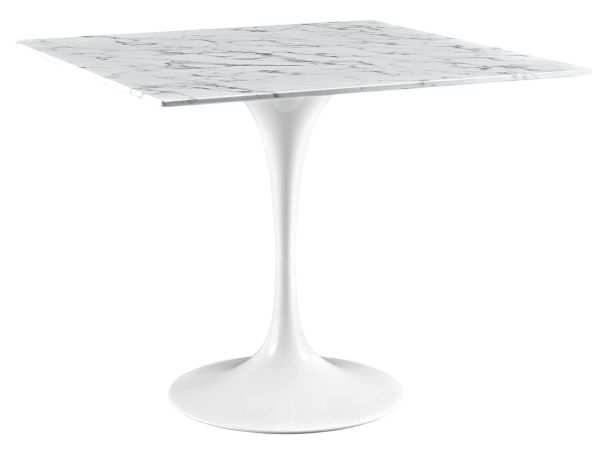 LexMod Lippa Marble Square Dining Table White