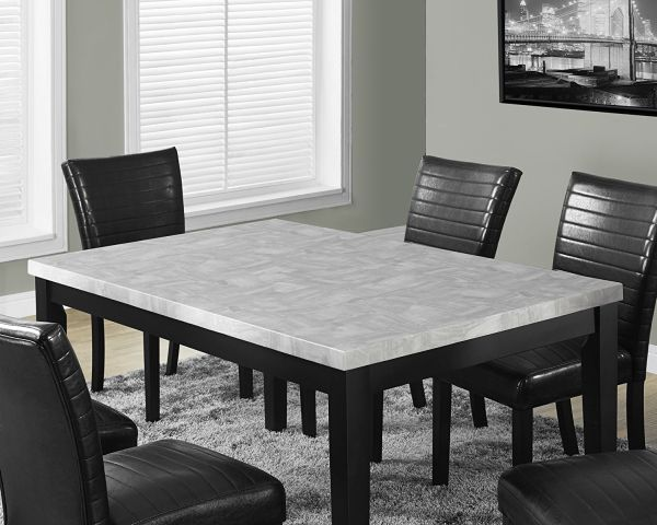 Monarch Specialties Grey Lacquered Square Marble Dining Table 38 x 64-Inch
