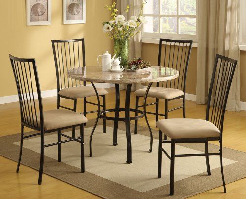 Acme 70295 5-Piece Darell Faux Marble Top Dining Set