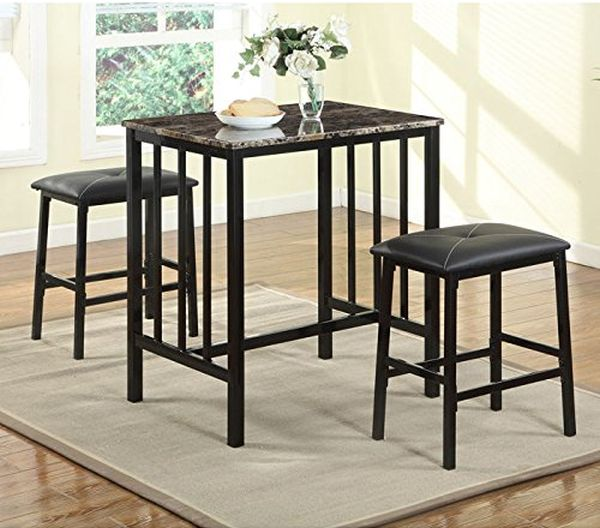 Roundhill Furniture Citico Transitional Metal and Faux Marble 3 Piece Counter Height Pub Table with Vinyl Chairs