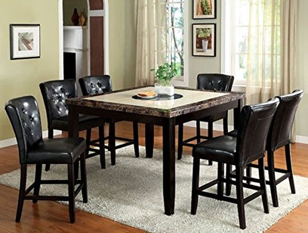 Belleview Counter Height Black Finish Faux Marble Table Top 7-Piece Dining Set