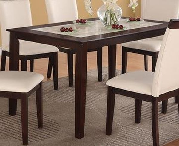 Casual Cream Faux Marble Top and Espresso Solid Wood Dining Table