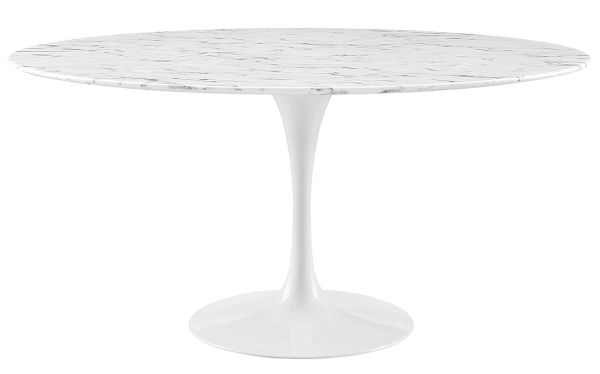 Modway Lippa 60 inch Artificial Marble Dining Table in White