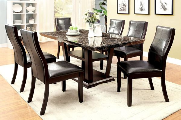 Furniture of America Alfaro 7-Piece Modern Faux Marble-Top Dining Set